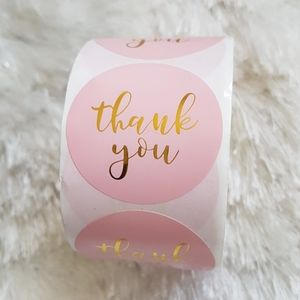 """500 pcs 1.5"""" Pink Gold Foil Thank You Stickers"""